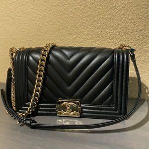 SOLD!! Chanel Chevron Boy Bag